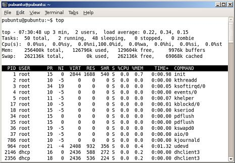 Top = uptime + load average + procesos ...
