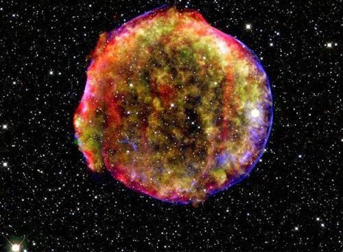 """Foto de los restos de la Supernova de Tycho en rayos X, infrarrojo y visible. En el año 1572 apareció en la Constelación de Casiopea una """"estrella nueva"""" que fue vista por Tycho Brahe y otros astrónomos de la época. Su estudio nos ayuda a entender el origen de este tipo de supernovas tan importantes en Cosmología.-"""
