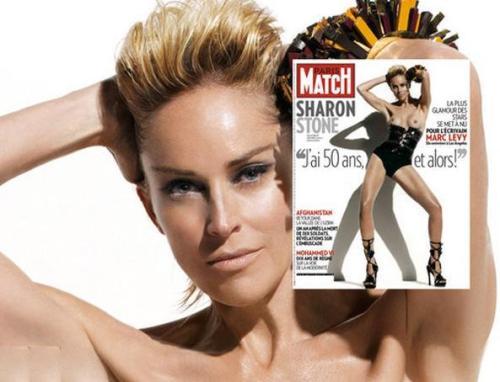 Los 50 años de una Diosa. Sahron Stone posa semidenuda en la portada del último número de la revista francesa Paris Match