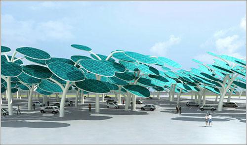 Bosque solar para coches eléctricos.