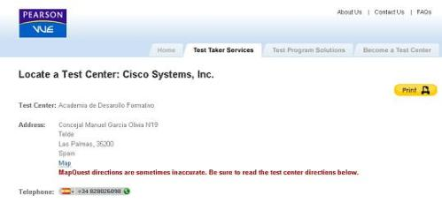 Cisco CCNA test Center en Las Palmas