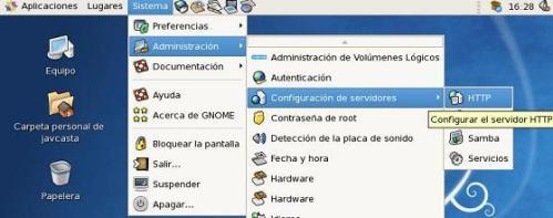 Configurar el servidor http via gui en CentOS5