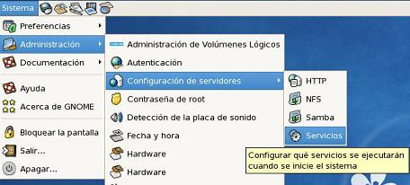 Ahora iniciaremos Apache (httpd) via gui y haremos que sea un servicio que se inicie con el sistema