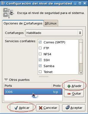 Añadimos el puerto tcp3306, que es el que usa mysqld por defecto