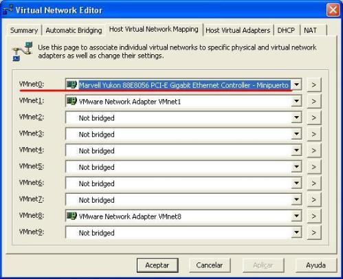 Desde el managed virtual networks (gestor de redes virtuales) mapeo un dispositivo de vmware, el VMnet0, en este caso,  a una de las NIC del huesped