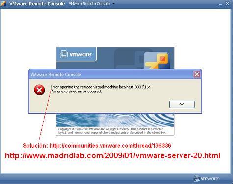 Error al Iniciar el VMWare Remote Console: