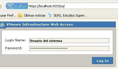 Accedo a vmware server 2 a través de https por el puerto 8333 con un usuario del sistema anfitrión