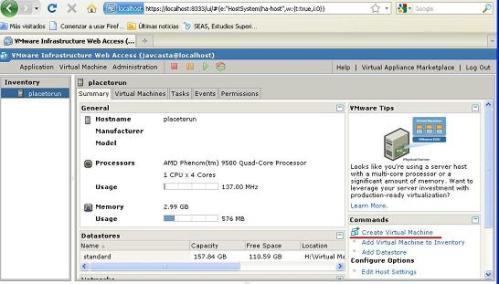 El panel de control de VmWare Server 2 via browser. Empiezo por crear una máquina virtual