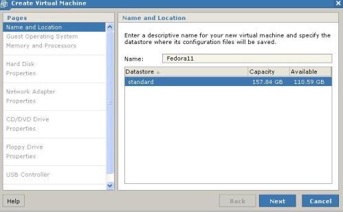 Nombre de la máquina virtual (Fedora11)