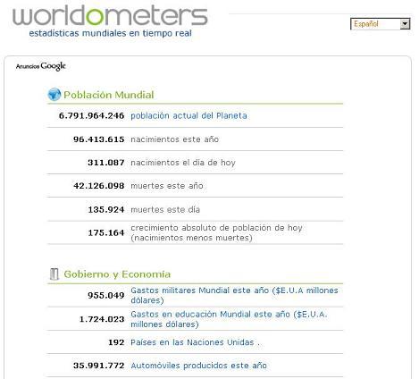 Estadísitcas mundiales en tiempo real