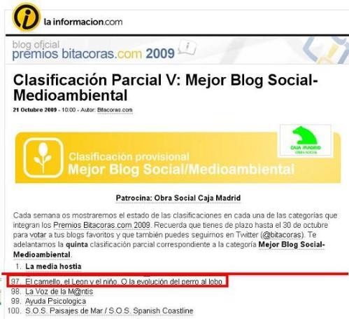 Clasificación en mejor blog social y medioambiental