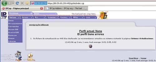 IPCop se administra via Browser o navegador (http)